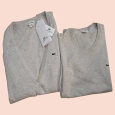 Authentic LACOSTE Knitted Sweater Set - Long Sleeve Cardigan & Short Sleeve Top - Classic Gray - Alligators - NWT