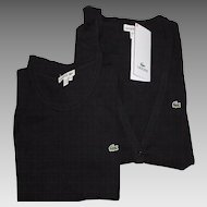 Authentic LACOSTE Knitted Sweater Set - Long Sleeve Cardigan & Short Sleeve Top - Classic Black - Alligators - NWT