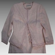 Authentic CARMEN MARC VALVO Formal Suit Set - Plaid Top & Skirt - Pretty Pink