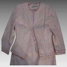 Authentic CARMEN MARC VALVO Formal Suit Set - Plaid Top & Skirt - Pretty Pink