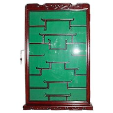 Redwood Wall Curio Cabinet - Display Shelves - Vintage New Mid Century