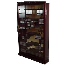Redwood Wall Curio Cabinet Display Shelves Back Mirror Vintage New