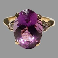Romantic Amethyst Diamond Ring 18K Y-Gold - Natural Purple - Vintage 60's