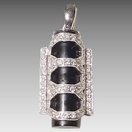 Dazzling Black & White Black Onyx Diamond Pendant -14KT White Gold - Diamond Stunner Frame