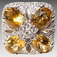 Floral Golden Citrine Diamond Gold Ring  18 KT W-Gold - Lovely Square