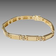Lusty Excellently Made Diamond Bracelet 18 KT Yellow Gold - Great Diamond & Gold Links -7""