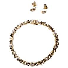 Elegant Color Diamond Set - Diamond Bracelet & Diamond Earrings 14 KT Yellow Gold - Green Yellow White Diamonds - Vintage 1960's