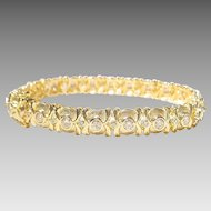 Heavenly Etruscan Diamond & Gold Bracelet 18 KT Y- Gold  2-Toned Matte & Polished - Tennis