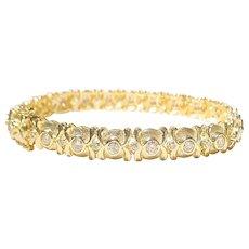 Heavenly Etruscan Diamond Gold Bracelet 18K 2-Toned Matte & Polished