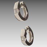 Most Elegant Diamond & Gold Hoop Earrings 18K W-Gold - Huggies - 80's Collections Brand-New Vintage