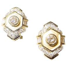 Etruscan Diamond Earrings 18K 2-Toned Matte Polished Gold