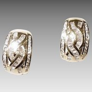 Revival Style Baguetted Diamonds - Diamond Earrings 18 KT Yellow Gold Huggies - Designer Earrings - Vintage of the 70's