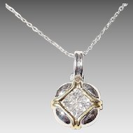 Elegant Square Diamond Pendant 18 KT W-Gold - Two Toned