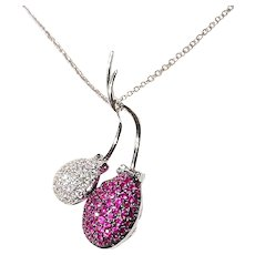 Invisible Set Red Ruby Diamond Pendant 18K Fruits