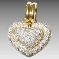 Exquisite Heart Diamond Pendant /Slide 18 KT Yellow Gold - Crust Diamonds - Fully & Precisely Diamond Sculptural Heart