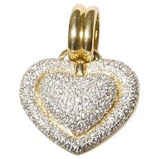 Exquisite Heart Diamond Pendant /Slide 18 KT Yellow Gold - Crust Diamonds - Fully & Precisely Diamond Sculptural Heart