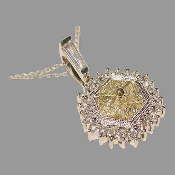 Lavish Champagne Diamond Pendant 18K W-Gold - Vintage New of 80's