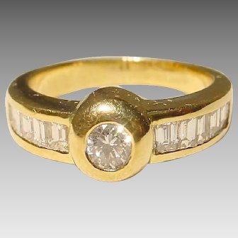Most Classic Diamond Ring 18 KT Yellow Gold - Bezel Solitaire & Channeled Baguette Diamonds - Mostly Elegant Band