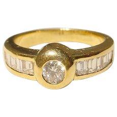 Classic Diamond Ring 18K - Bezel Solitaire & Channeled Baguette Diamonds