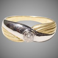 Fancy Band of Two-Toned White Diamond Ring 18 KT - Lovely Gift