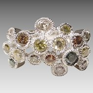 Dazzling Colored Diamond Ring 18KT W-Gold - Ruffled Bubbles