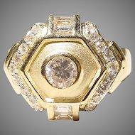 Etruscan Diamond Ring 18KT Y-Gold - 2-Toned Matte & Polished - Art Deco