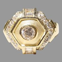 Etruscan Diamond Ring 18KT Y-Gold - 2-Toned Matte & Polished - Art Deco
