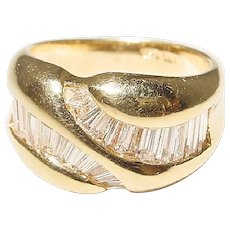 Amazingly Neat Diamond Ring 18K Y-Gold - Waving Baguette Diamonds All Channeled - Anniversary Band - Vintage