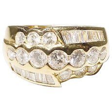 Sharp Diamond Ring 18 KT Y-Gold - Art Deco Anniversary Band