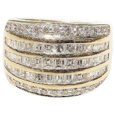 Elegantly Glow Diamond Ring 18K- Y Gold Princess Diamonds Art Deco Anniversary Band - Vintage 70s
