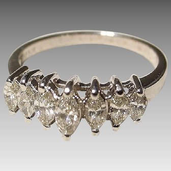 Antique Diamond Ring 14K W-Gold -Marquise Tier- Sweetly 7-Stone of 20's