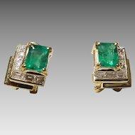 Emerald-Cut Emerald & Diamond Earrings 18K Y-Gold - Princess Diamonds Splendid Galleries