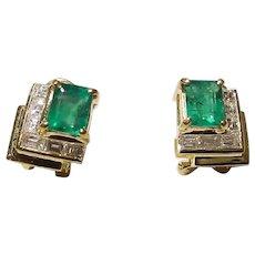 Splendid Galleries Emerald Diamond Earrings 18K