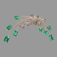 Fine Emerald Diamond Corsage Pendant Pin 18K
