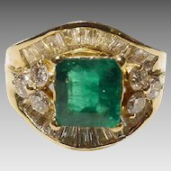 Gorgeous Dark Green Emerald Diamond Ring 18K Y- Gold - Sharply Elegant