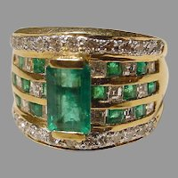 Superb Emerald Diamond Patterned Squared Ring Band 18K