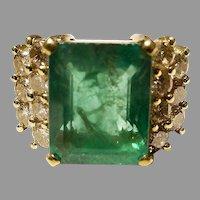 Emerald Diamond Ring 18K Collectible 8 Ct.