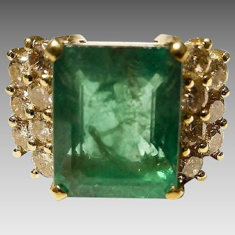 In Huge Super 8 Ct. Antique Emerald Cut Vitreous Emerald Diamond Ring -18K Y-Gold - Magnificent Collectible 70's