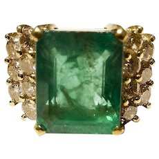 Huge Super 8 Ct. Antique Emerald Cut Vitreous Emerald Diamond Ring -18K YG - Collectible 70's
