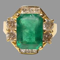 Super 5 Ct. Antique Emerald Cut - Vitreous Emerald Diamond Ring with 18K YG