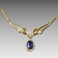 Noble Blue Sapphire Pendant Necklace - Diamonds & Gold 18 KT Y-Gold Sneak Chain