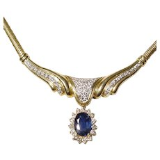 Noble Blue Sapphire Pendant Necklace - Diamonds Gold 18K YG Sneak Chain