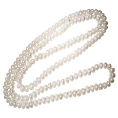 "Cultured Fresh Water Pearl Necklace Long Rope of 40"" - Fine Roundel Pearls 8 MM"