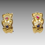 Victorian Chic Multi-Gem Earrings 18 KT Yellow Gold - Etruscan Two Toned - Victorian Style