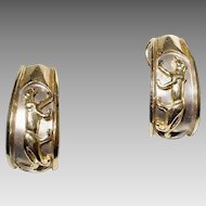 Extraordinary Vintage 14KT Gold Earrings Two-Toned Animal Plaques - Etruscan Huggie Style - Add to the Collection Set