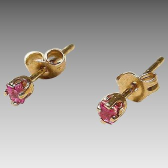 Tiny Ruby Earrings 14K Y-Gold