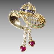 Luxuriant Lady's Hat - Multi-Gem Diamond Brooch /Pendant /Enhancer 18 KT Yellow Gold - Artistic Craft - Vintage 60's
