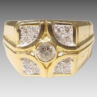 Men's Diamond Ring 18KT Yellow Gold - Art Deco Style Diamond Motifs - Uniquely Handsome