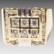 Men's Diamond Ring 18 KT Yellow Gold - Art Deco Style Two Toned - Diamond Checkerboard - Vintage 1970's