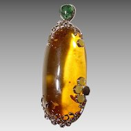 Giant Amber Pendant - Elongate Shaped Dome - Setting of Silver - Vintage of 70s